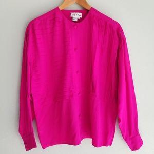 Vintage silk bright pink blouse